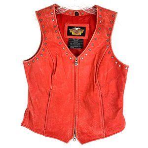 Harley Davidson Women's Vintage Distressed Pink Leather Studded Vest SZ Small